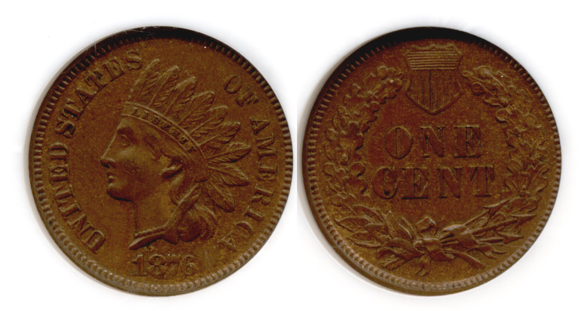 1876 Indian Head Cent NGC MS-63 Brown