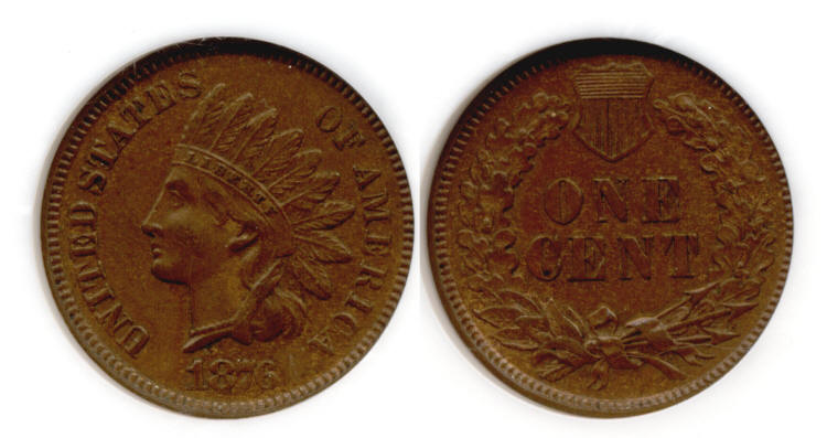 1876 Indian Head Cent NGC MS-63 Brown small