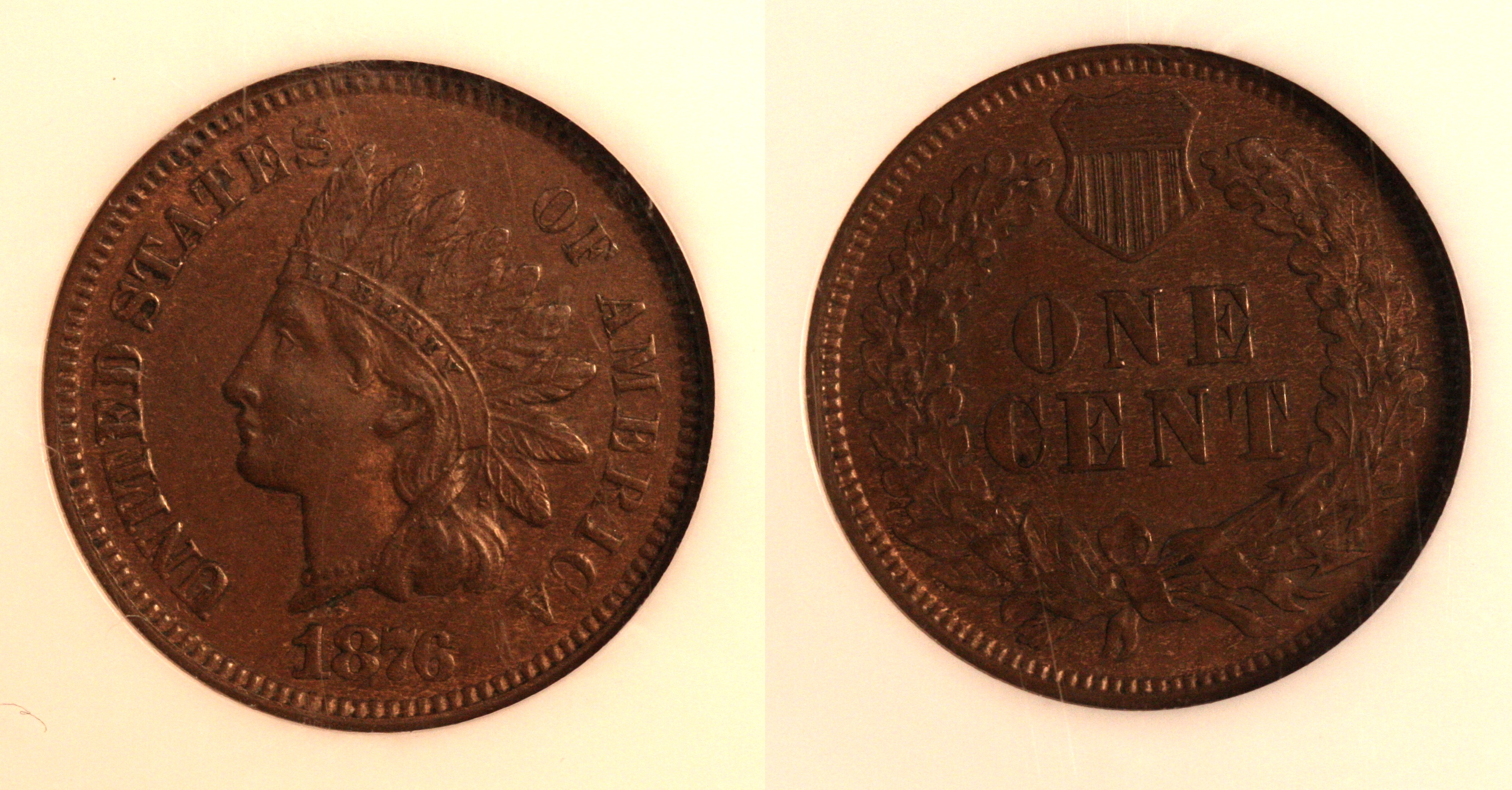 1876 Indian Head Cent NGC MS-63 Brown camera