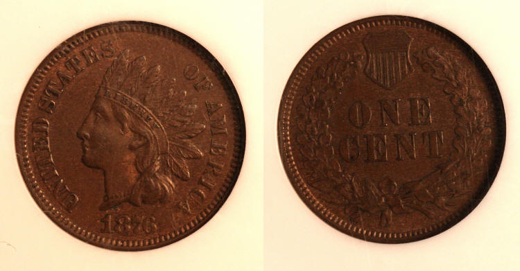 1876 Indian Head Cent NGC MS-63 Brown camera small