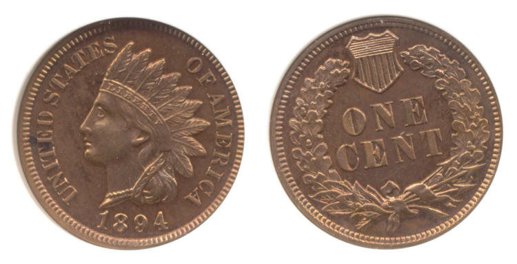 1894 Indian Head Cent PCI Proof-65 Red small