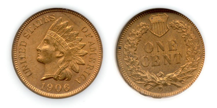 1906 Indian Head Cent PCI MS-65 Red small
