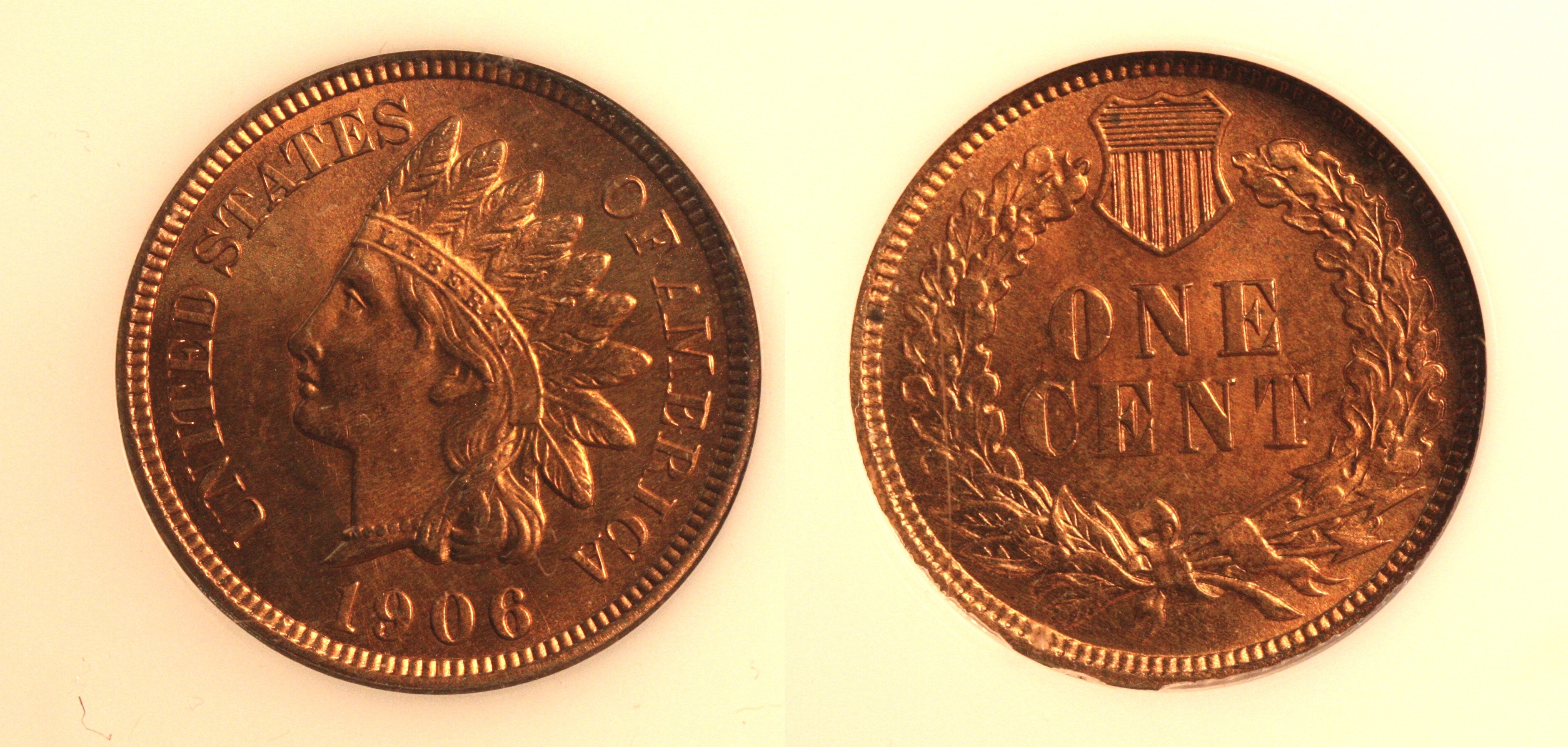 1906 Indian Head Cent PCI MS-65 Red camera