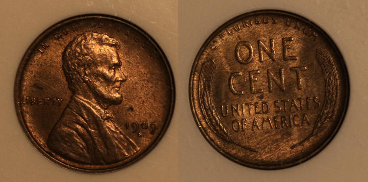 1909-S VDB Lincoln Cent ANACS MS-62 Weak VDB camera small