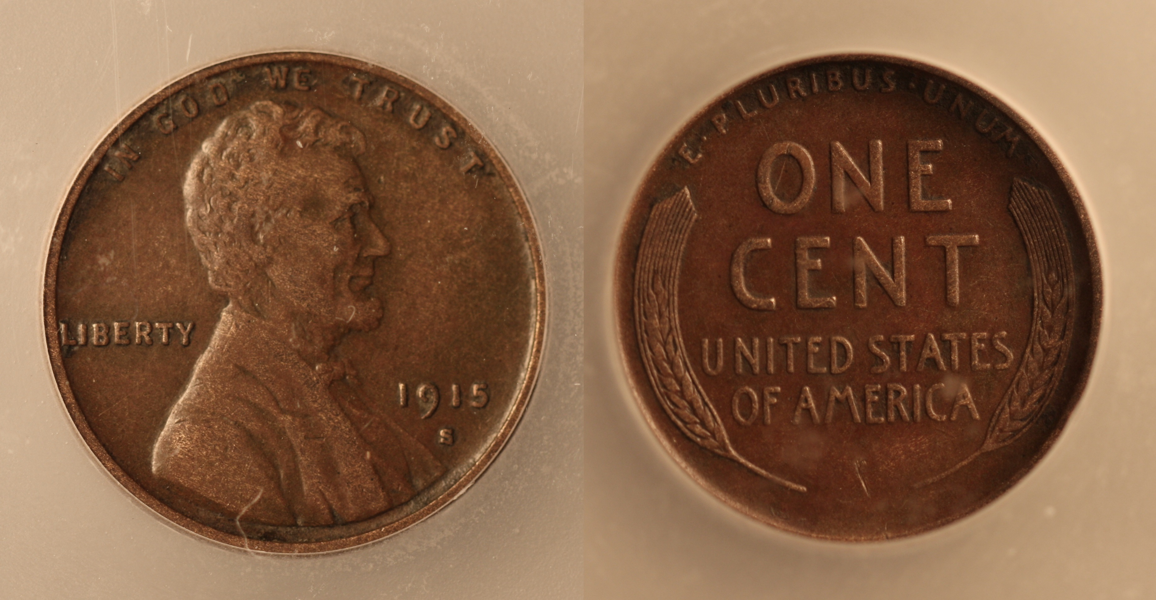 1915-S Lincoln Cent ICG AU-50 camera