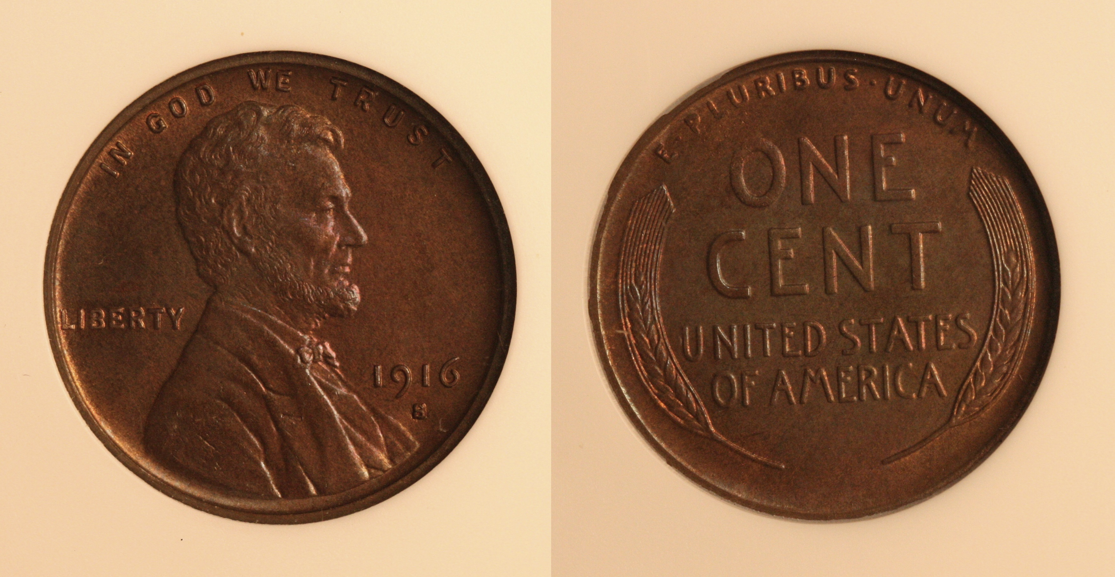 1916-S Lincoln Cent ANACS MS-65 Red and Brown camera