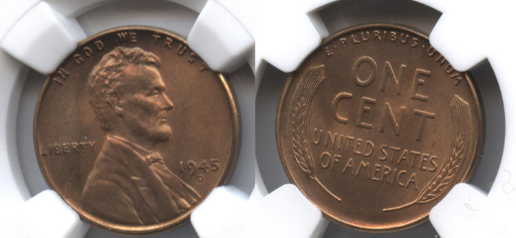 1945-D Lincoln Cent NGC MS-66 Red #k small