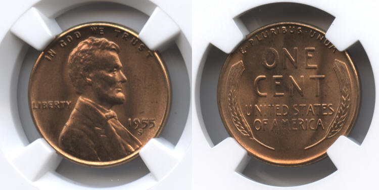1955-S Lincoln Cent NGC MS-66 Red #i small