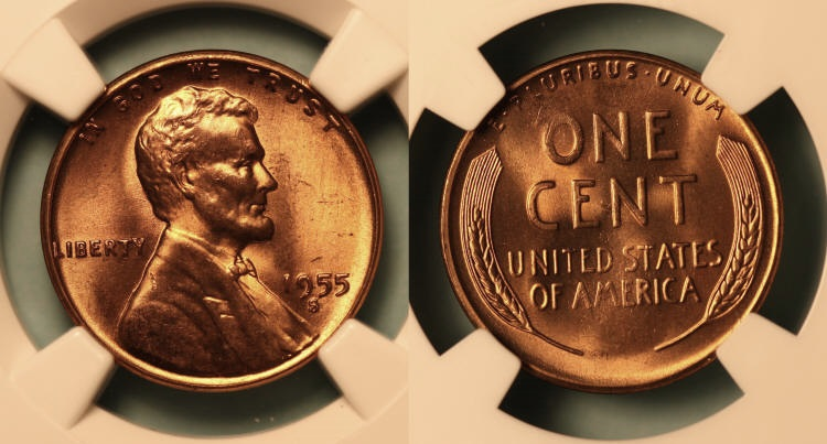 1955-S Lincoln Cent NGC MS-66 Red #i camera small
