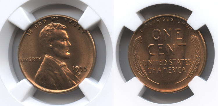 1955-S Lincoln Cent NGC MS-66 Red #j small