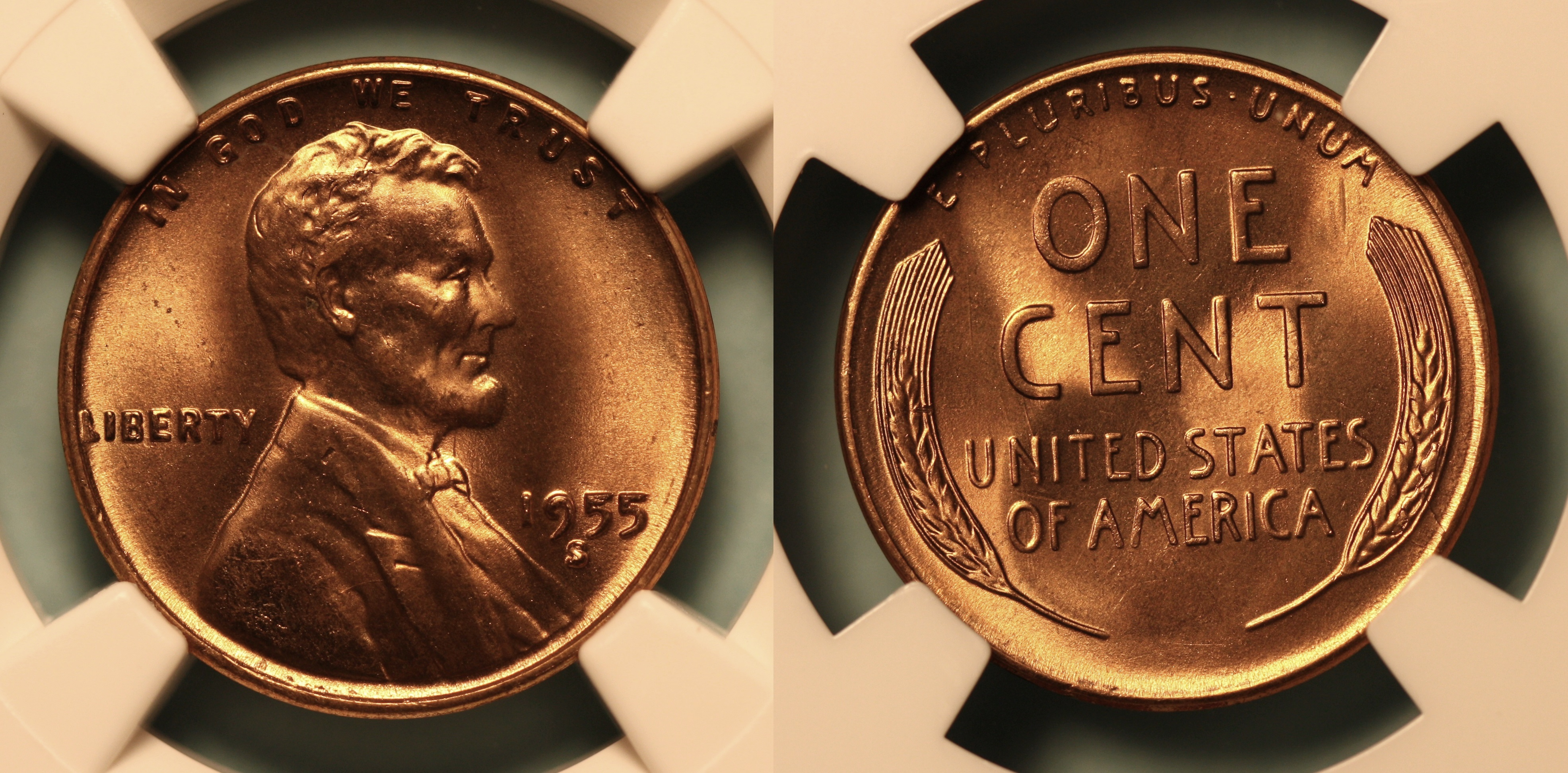 1955-S Lincoln Cent NGC MS-66 Red #j camera