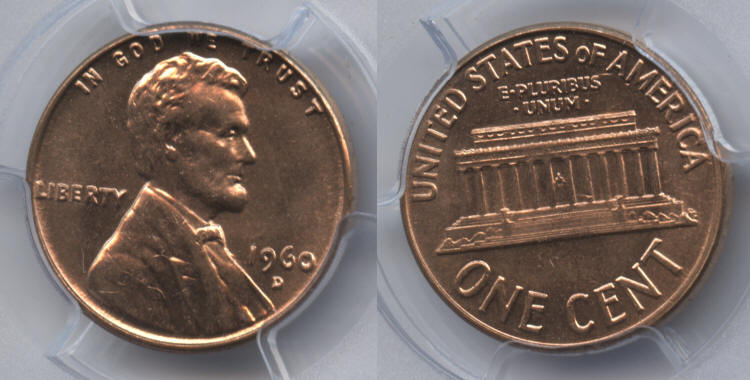 1960-D Small Date Lincoln Cent PCGS MS-63 Red #l small