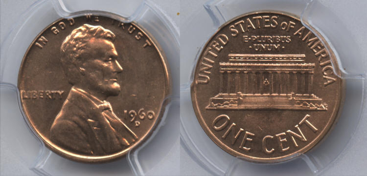 1960-D Small Date Lincoln Cent PCGS MS-64 Red #b small