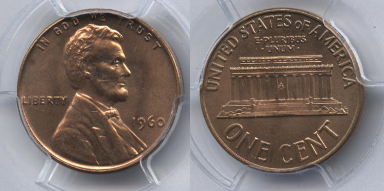 1960 Small Date Lincoln Cent PCGS MS-65 Red small