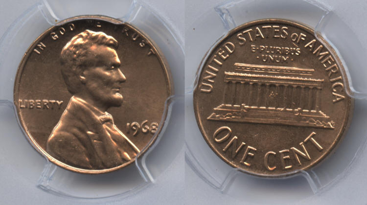 1968 Lincoln Cent PCGS MS-64 Red #e small