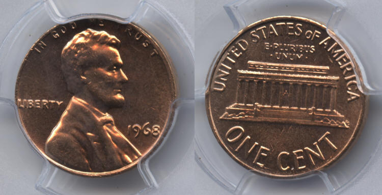 1968 Lincoln Cent PCGS MS-65 Red small