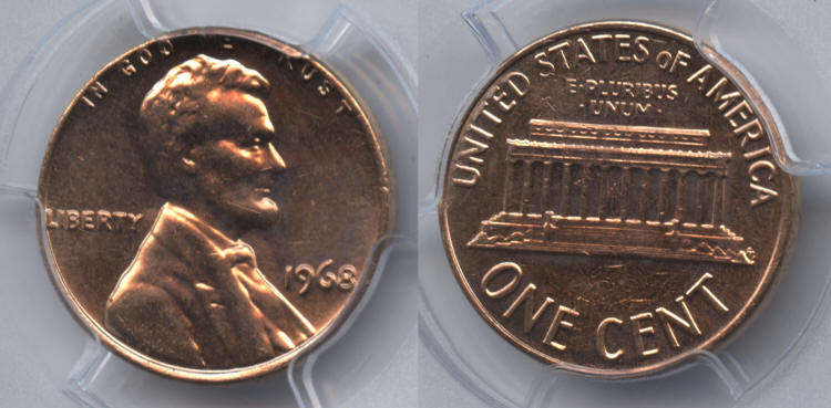 1968 Lincoln Cent PCGS MS-65 Red #a small