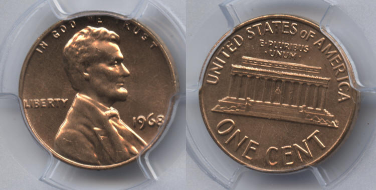 1968 Lincoln Cent PCGS MS-65 Red #e small