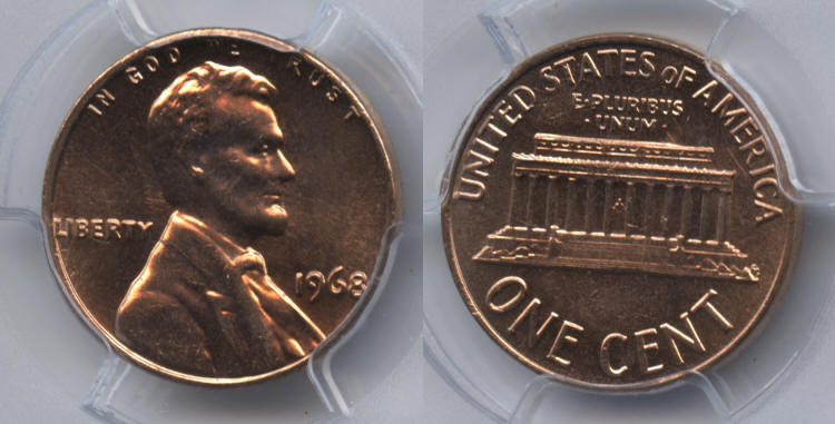 1968 Lincoln Cent PCGS MS-65 Red #h small