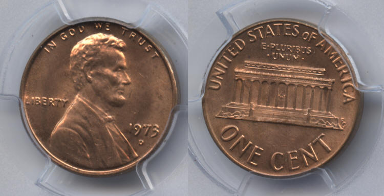 1973-D Lincoln Cent PCGS MS-65 Red small