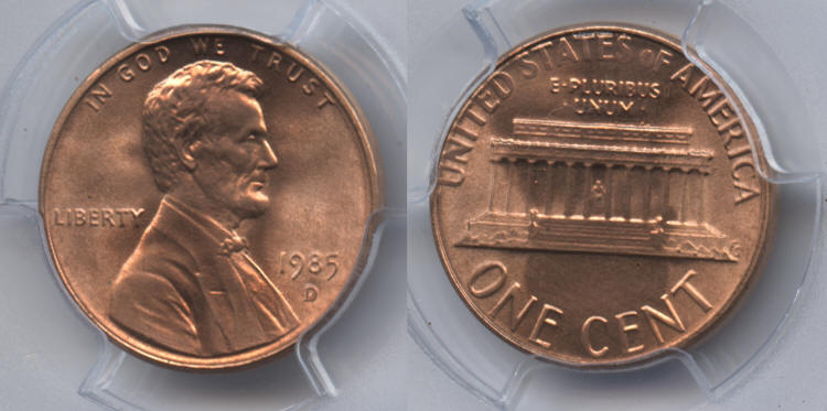 1985-D Lincoln Cent PCGS MS-67 Red #a small