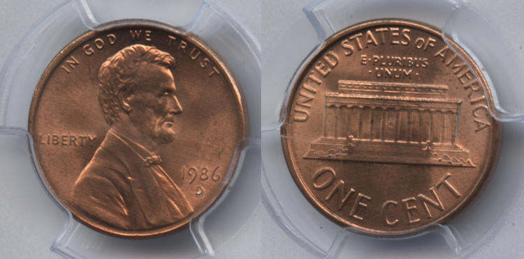 1986-D Lincoln Cent PCGS MS-66 Red small