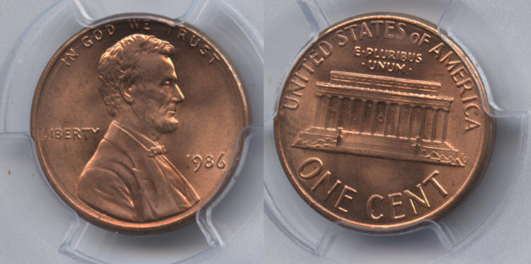 1986 Lincoln Cent PCGS MS-66 Red small