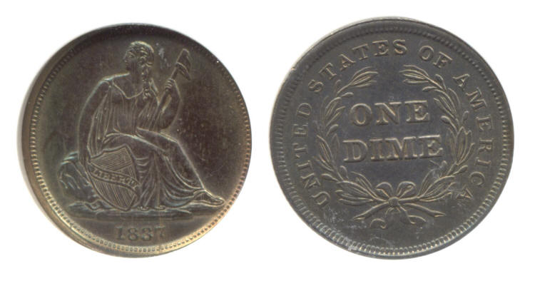 1837 No Stars Seated Liberty Dime PCI MS-64 small