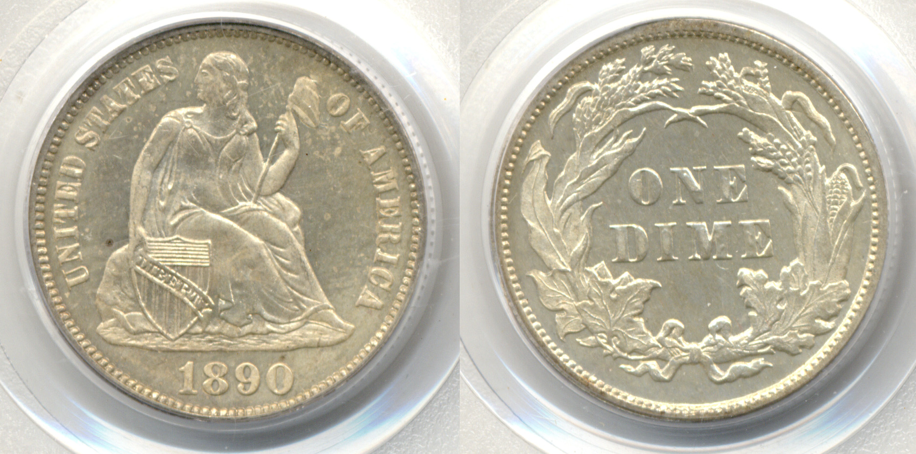 1890 Seated Liberty Dime PCGS Cameo Proof-65