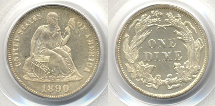 1890 Seated Liberty Dime PCGS Cameo Proof-65 small