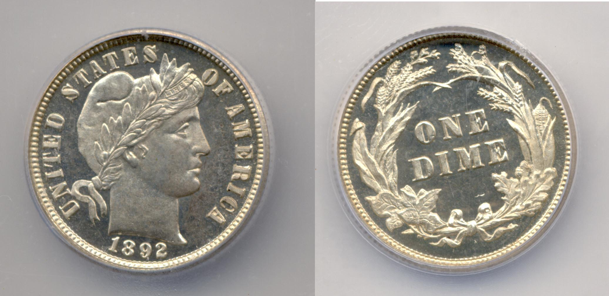 1892 Barber Dime ICG Cameo Proof-65