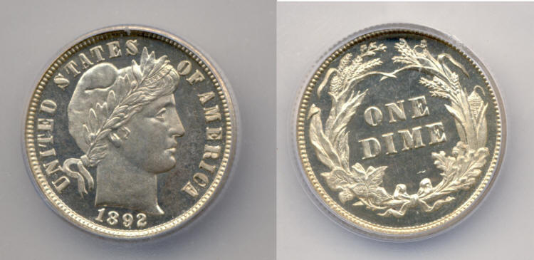 1892 Barber Dime ICG Cameo Proof-65 small