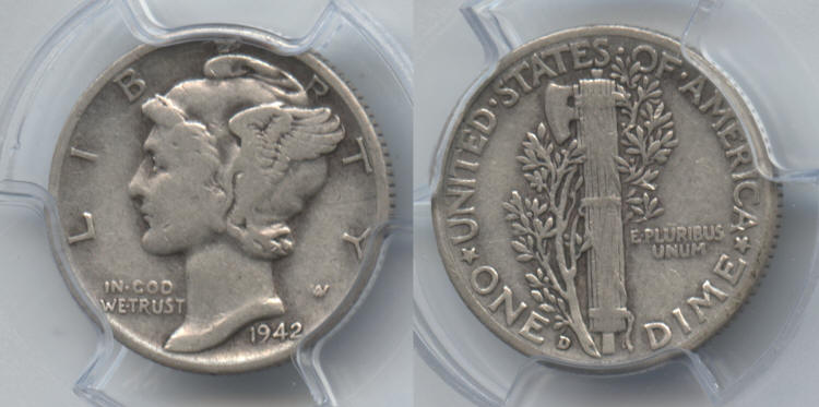 1942-D 2 over 1 Mercury Dime PCGS VF-20 small