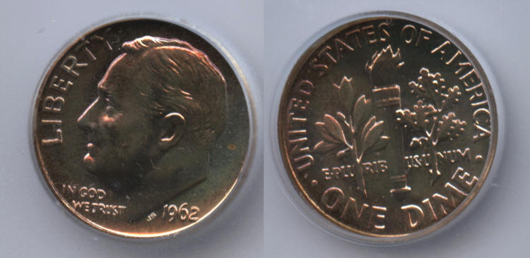 1962 Roosevelt Dime ICG Proof-69 small