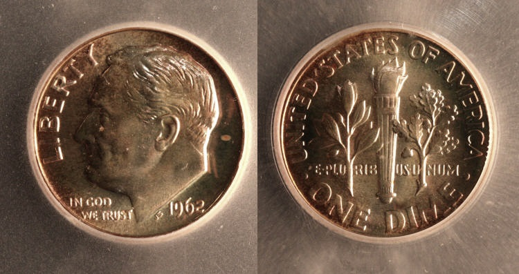 1962 Roosevelt Dime ICG Proof-69 camera small