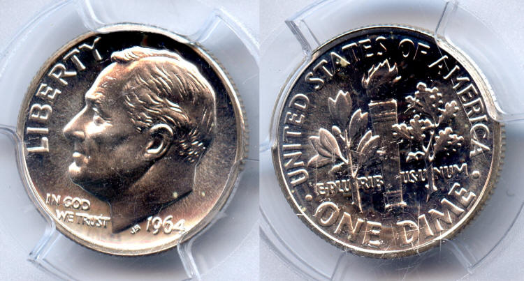 1964 Roosevelt Dime PCGS Proof-66 small