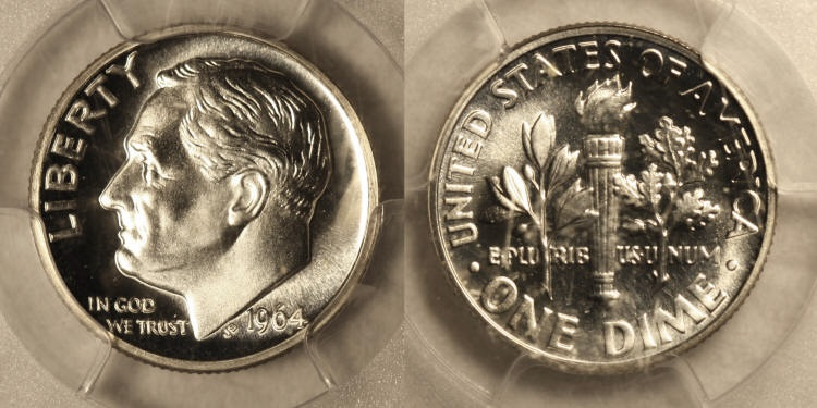 1964 Roosevelt Dime PCGS Proof-66 camera small