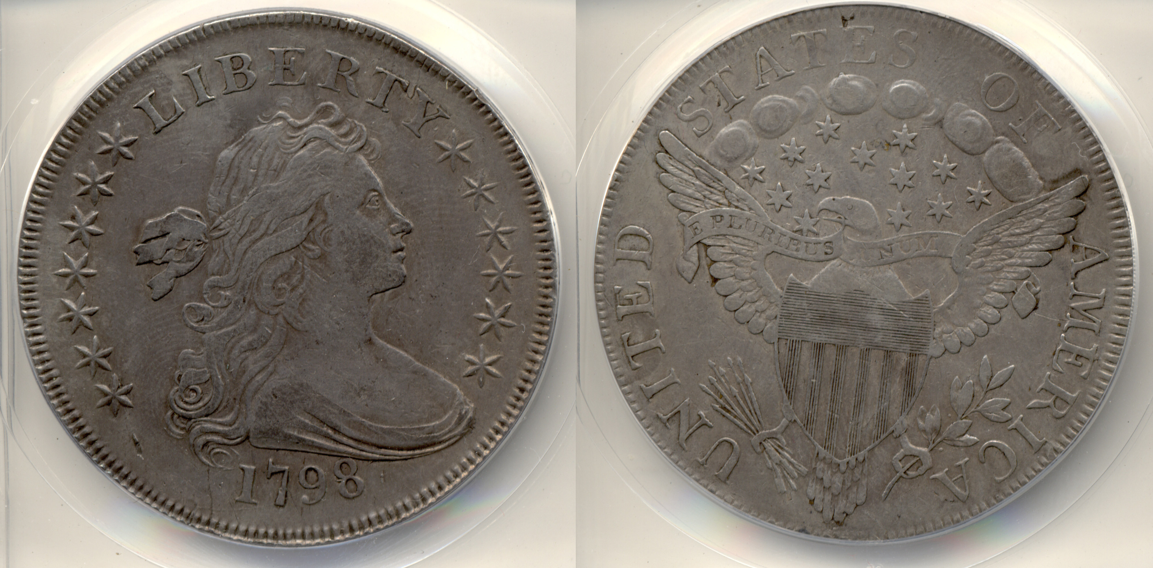 1798 Draped Bust Large Eagle Silver Dollar ANACS EF-40