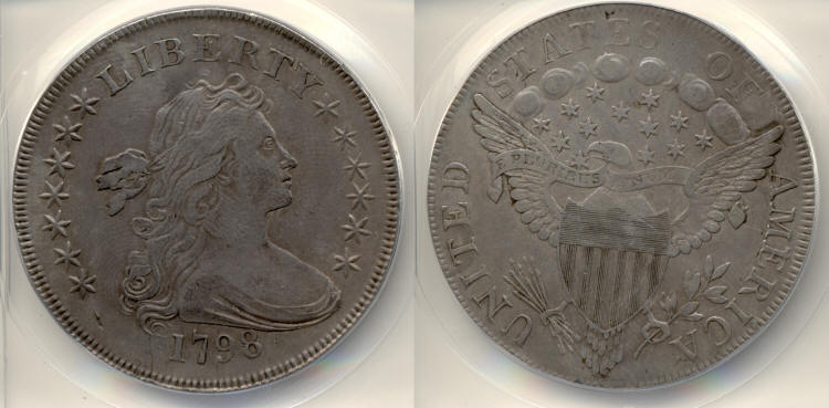1798 Draped Bust Large Eagle Silver Dollar ANACS EF-40 small