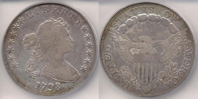 1798 Draped Bust Large Eagle Silver Dollar ICG EF-40 Miller Collection small