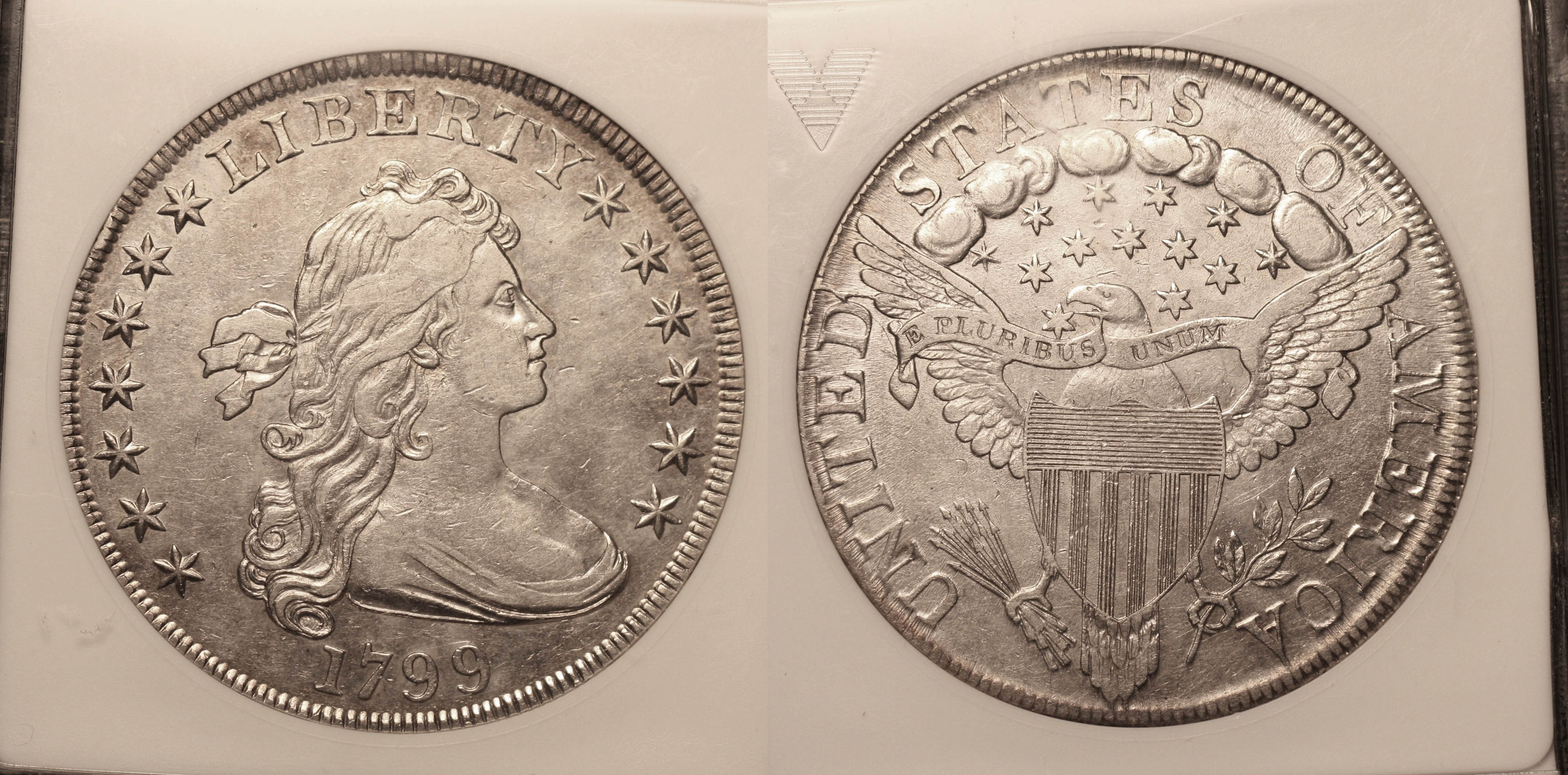 1799 Draped Bust Large Eagle Silver Dollar ANACS AU-50 #a camera