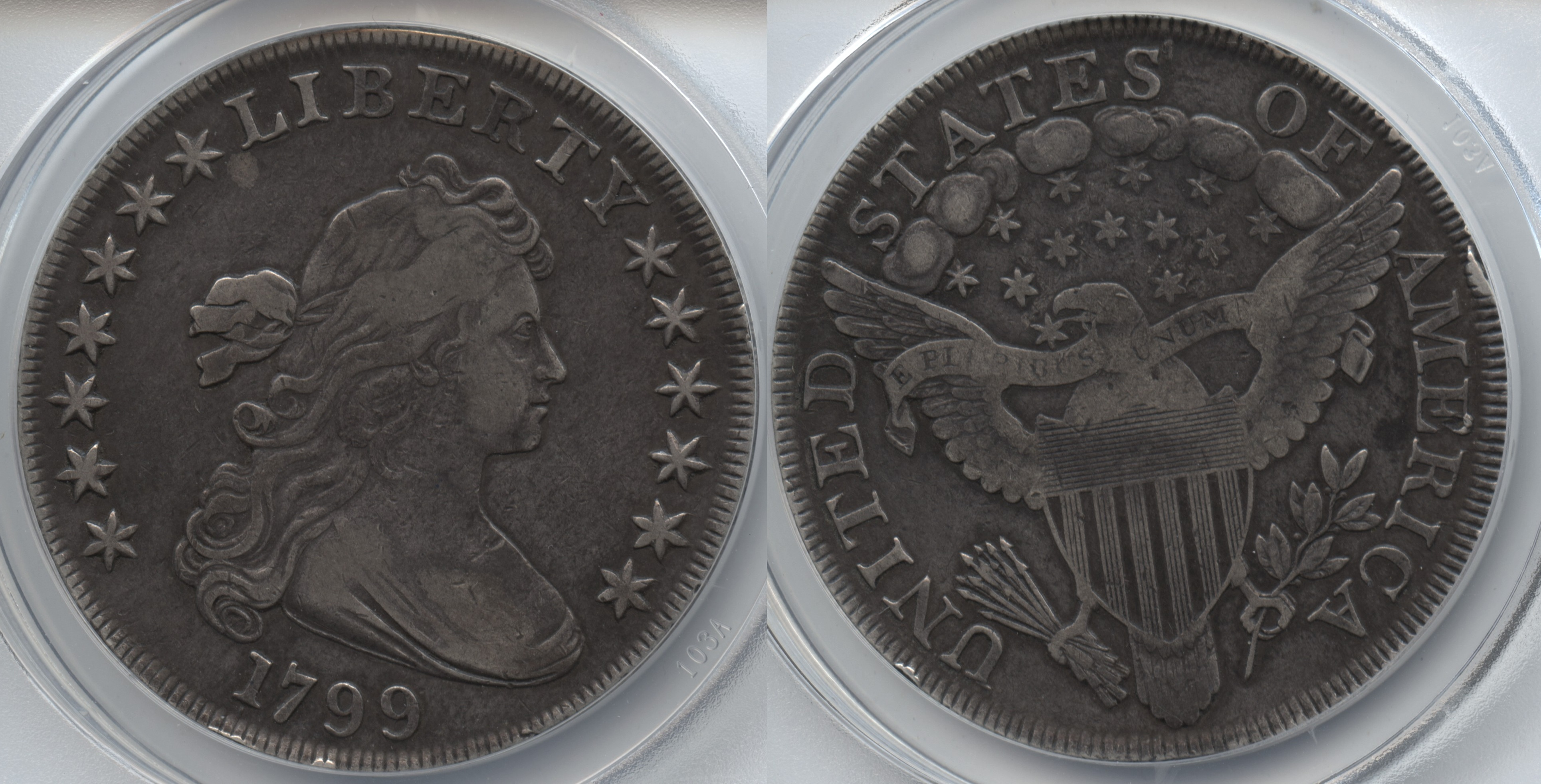 1799 Draped Bust Large Eagle Silver Dollar ANACS VF-30