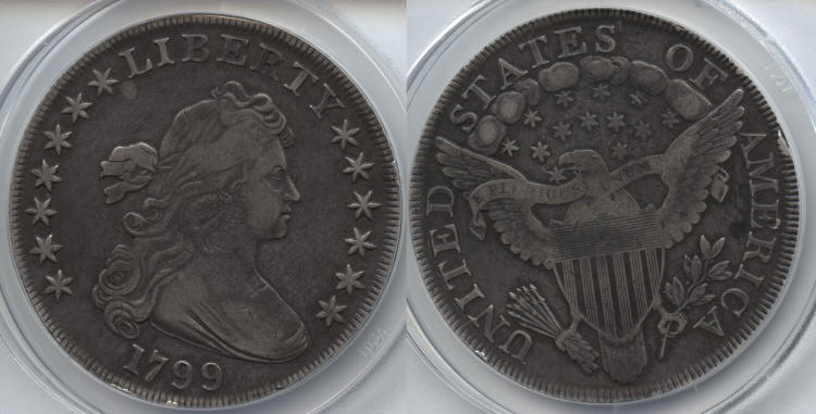 1799 Draped Bust Large Eagle Silver Dollar ANACS VF-30 small