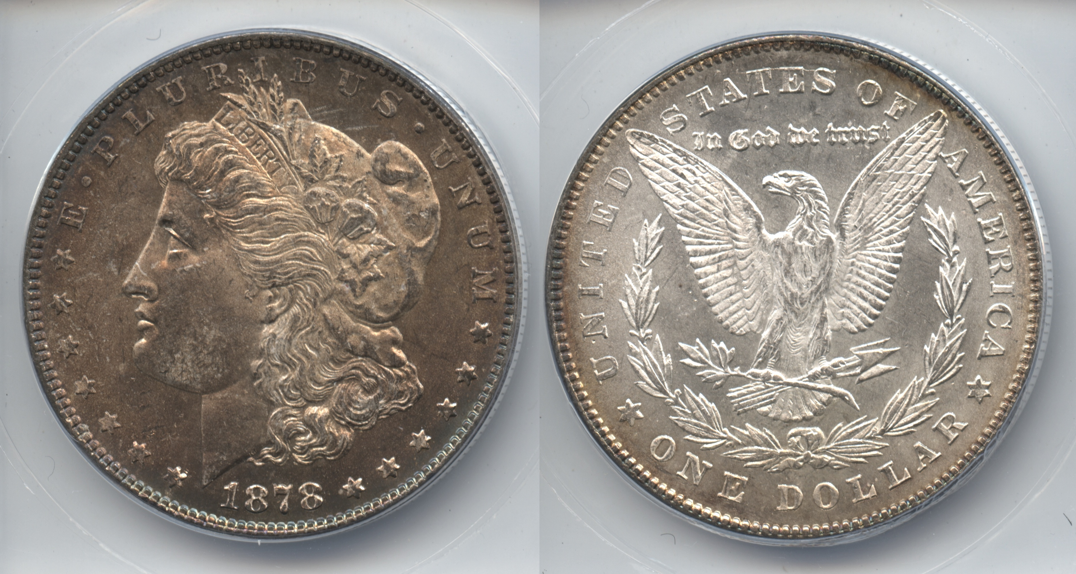 1878 7 Tailfeathers Morgan Silver Dollar ANACS MS-65
