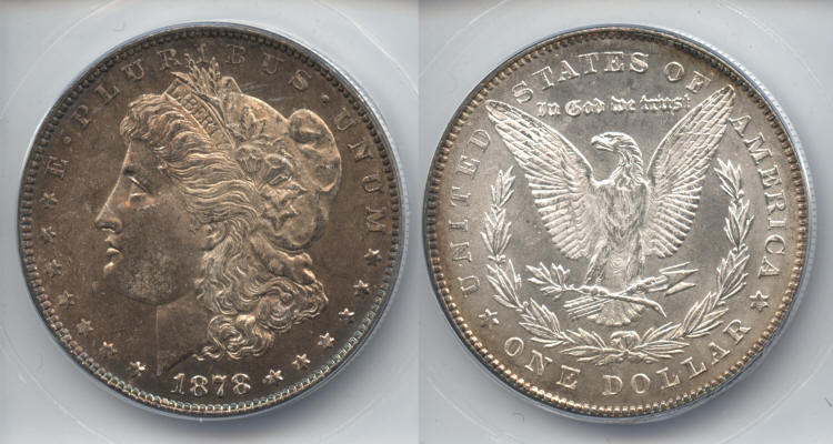 1878 7 Tailfeathers Morgan Silver Dollar ANACS MS-65 small