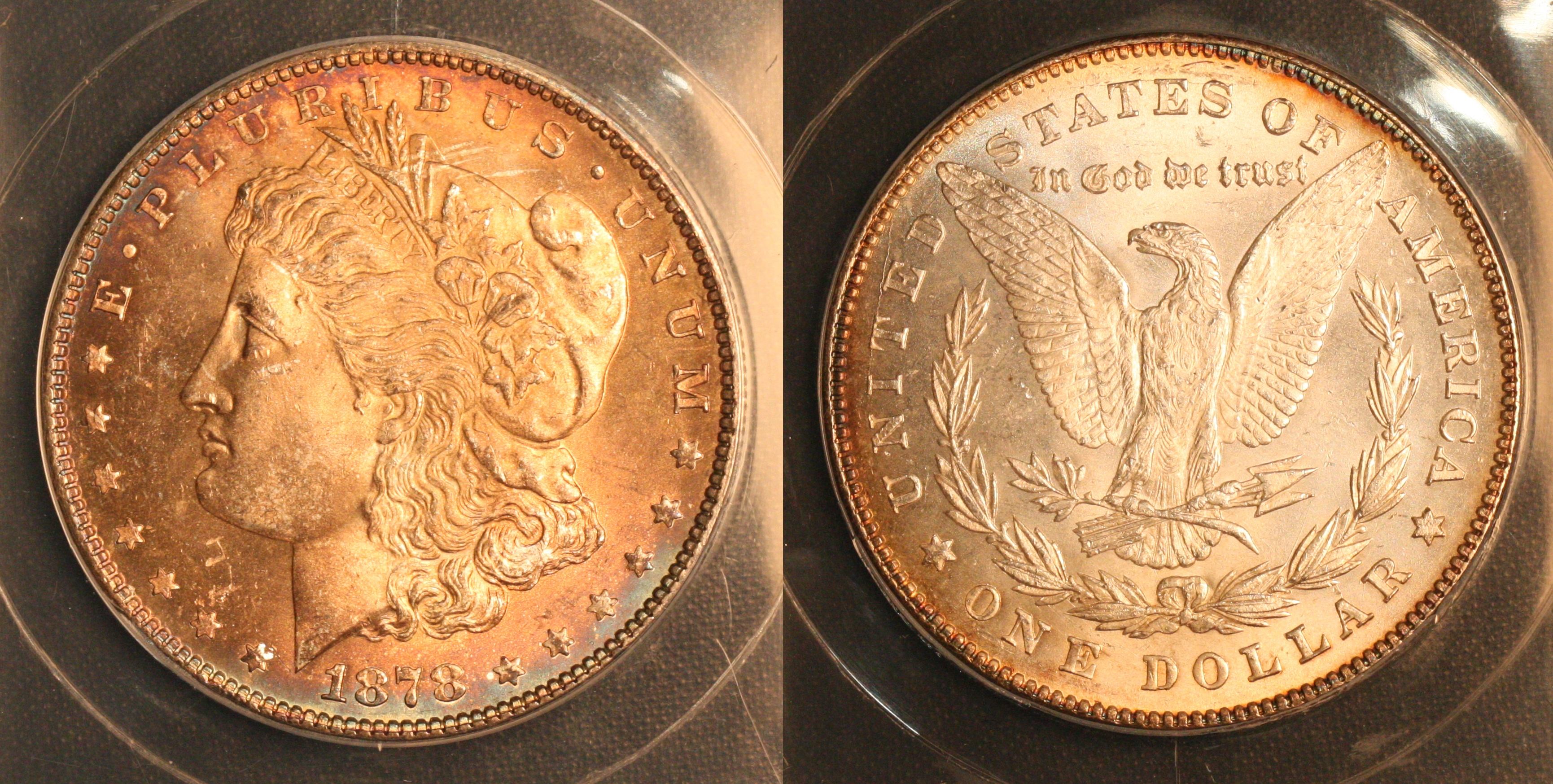 1878 7 Tailfeathers Morgan Silver Dollar ANACS MS-65 camera