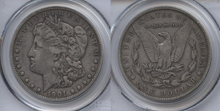 1901 Morgan Silver Dollar PCGS VF-30 small