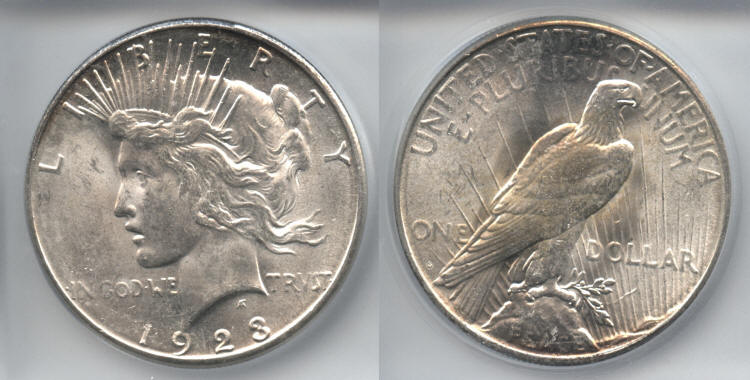 1923-S Peace Silver Dollar ICG MS-64 small