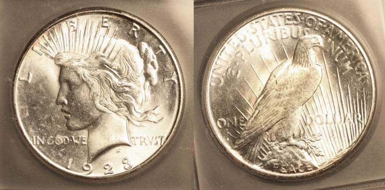 1923-S Peace Silver Dollar ICG MS-64 camera small
