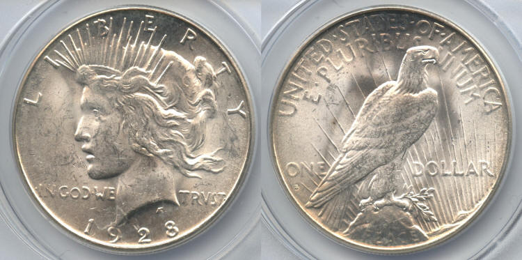 1928-S Peace Silver Dollar ANACS MS-63 small